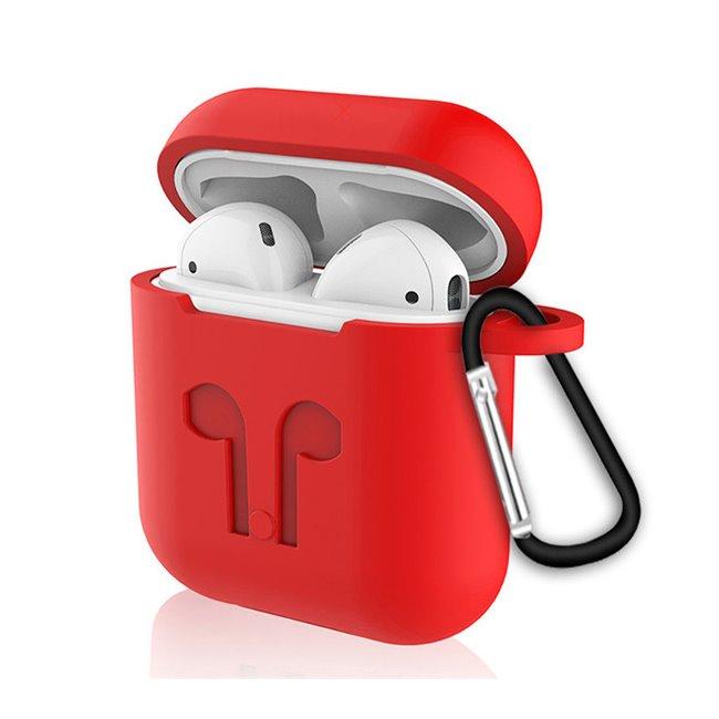 Červený silikónový obal s karabinkou pre Apple AirPods MMEF2ZM/A