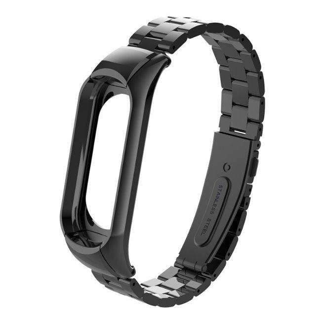 Čierny kovový náramok pre Xiaomi MiBand 3 a 4