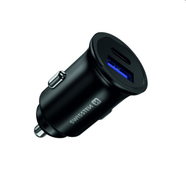 CL adaptér Swissten Power Delivery USB-C+ Quick charge 36W, čierny