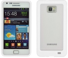 Cover Transparent - Silicone with lateral bumper, white, S. Galaxy S2
