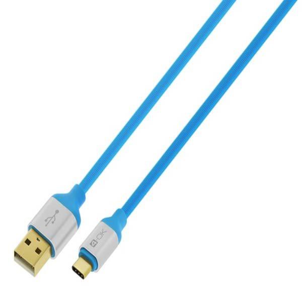 Dátový kábel 4-OK MOOVE SERIES s micro USB konektorom, Blue