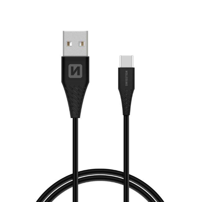 Dátový kábel Swissten s predĺženým USB-C konektorom pre odolné telefóny, čierny