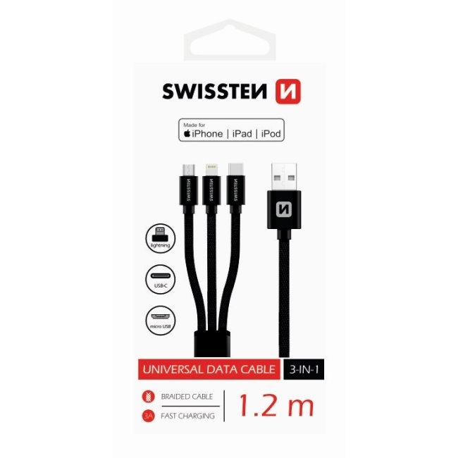 Dátový kábel Swissten textilný 3 v 1 a s podporou rýchlonabíjania, čierny