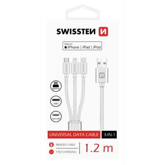 Dátový kábel Swissten textilný 3 v 1 a s podporou rýchlonabíjania, strieborný