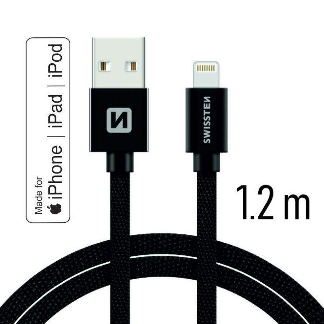 Dátový kábel Swissten textilný s certifikáciou MFI, Lightning konektorom a podporou rýchlonabíjania, Black