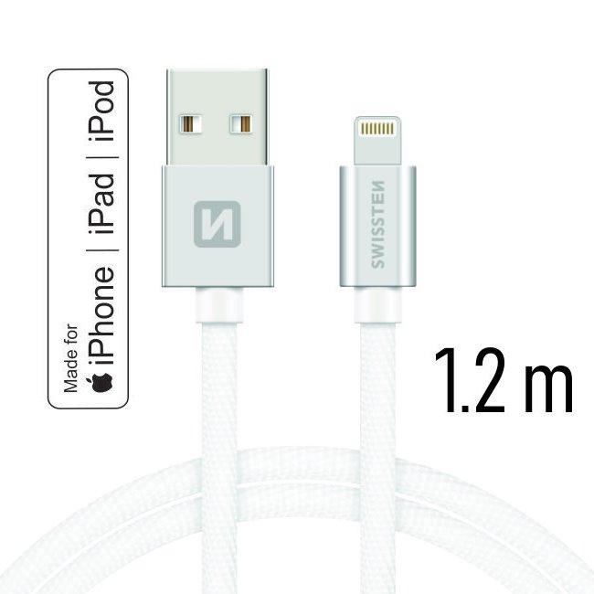 Dátový kábel Swissten textilný s certifikáciou MFI, Lightning konektorom a podporou rýchlonabíjania, Silver