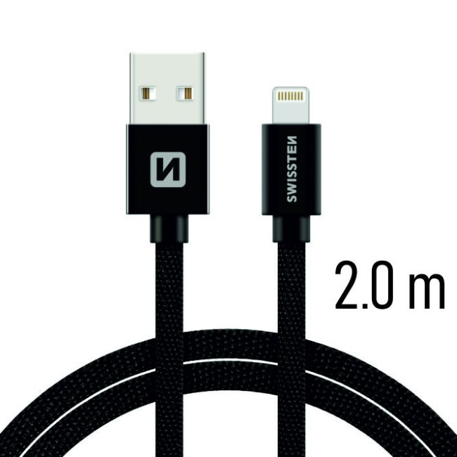 Dátový kábel Swissten textilný s Lightning konektorom a podporou rýchlonabíjania, Black