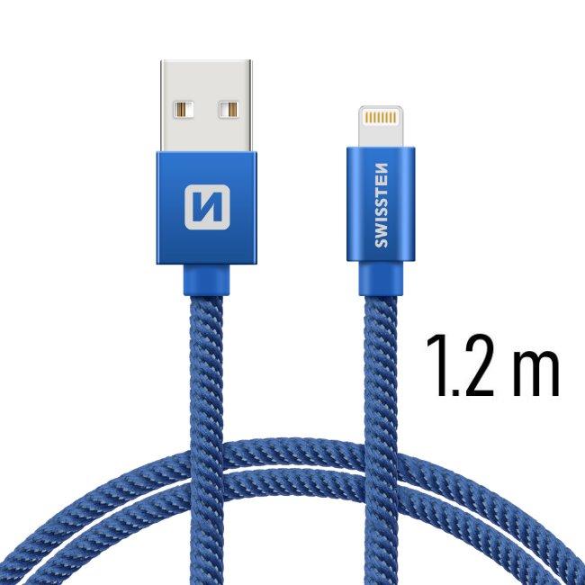 Dátový kábel Swissten textilný s Lightning konektorom a podporou rýchlonabíjania, Blue