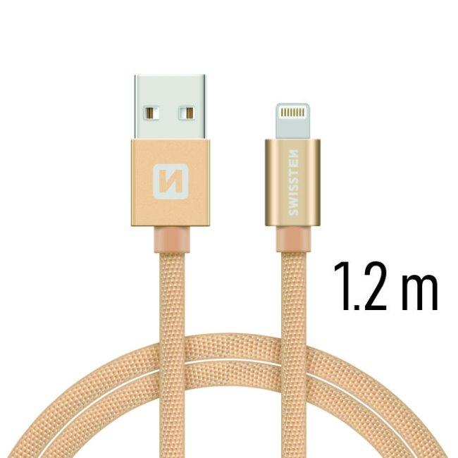 Dátový kábel Swissten textilný s Lightning konektorom a podporou rýchlonabíjania, Gold
