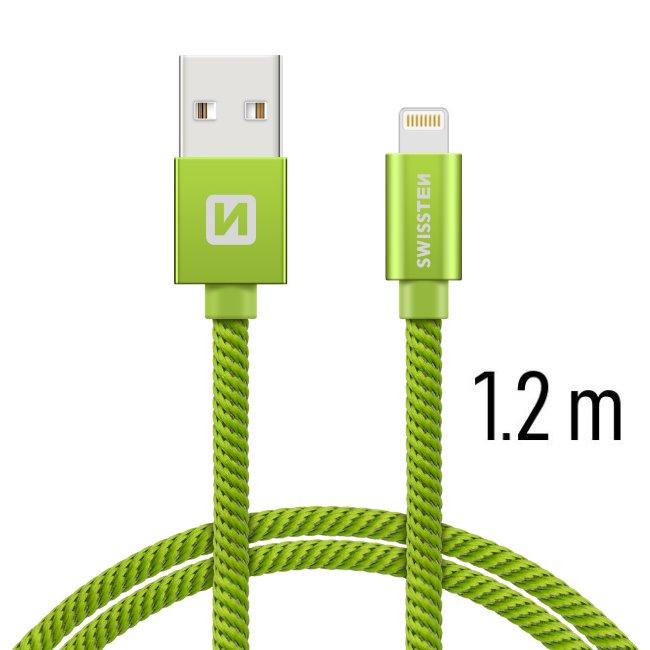Dátový kábel Swissten textilný s Lightning konektorom a podporou rýchlonabíjania, Green
