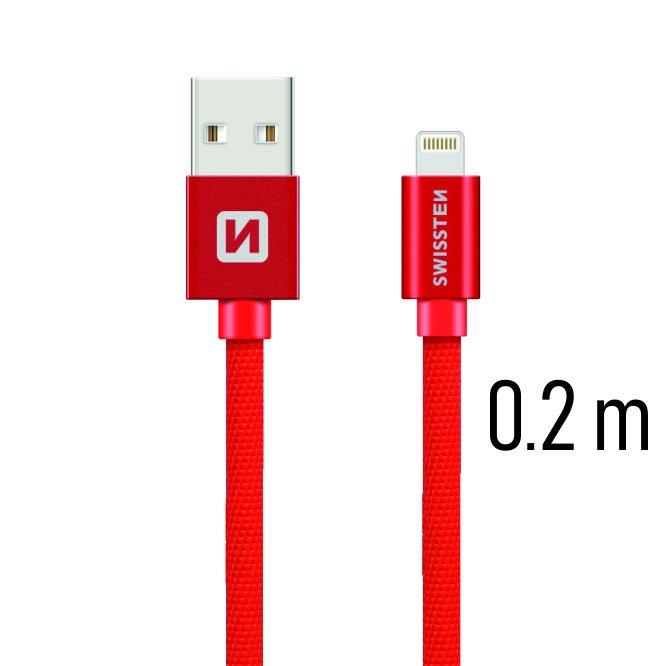 Dátový kábel Swissten textilný s Lightning konektorom a podporou rýchlonabíjania, Red