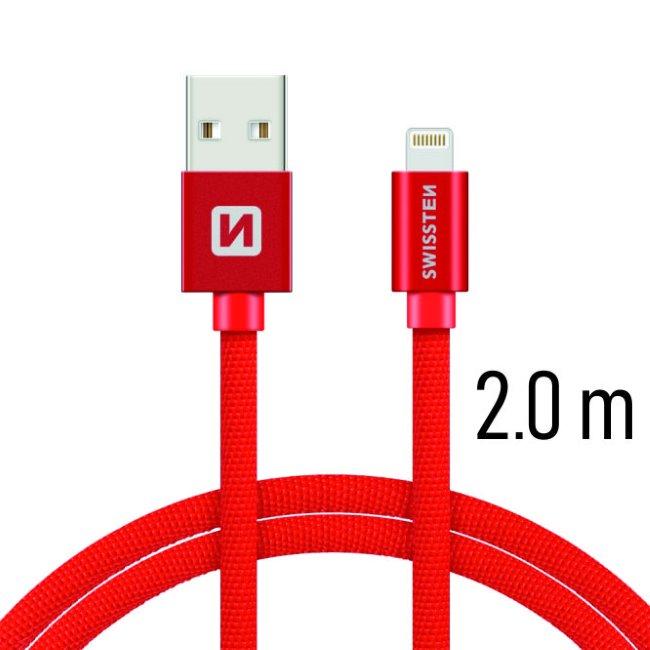 Dátový kábel Swissten textilný s Lightning konektorom a podporou rýchlonabíjania. Red