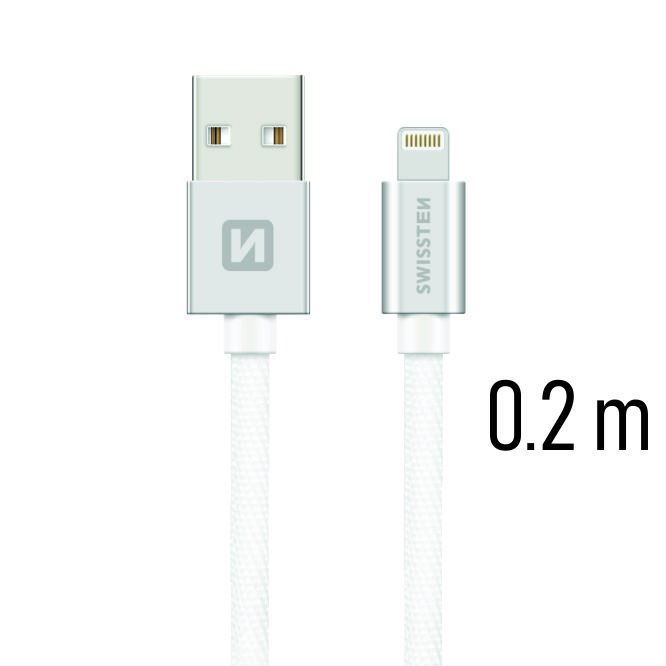 Dátový kábel Swissten textilný s Lightning konektorom a podporou rýchlonabíjania, Silver
