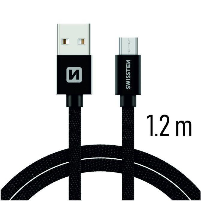 Dátový kábel Swissten textilný s Micro-USB konektorom a podporou rýchlonabíjania, Black