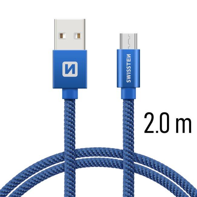 Dátový kábel Swissten textilný s Micro-USB konektorom a podporou rýchlonabíjania, Blue