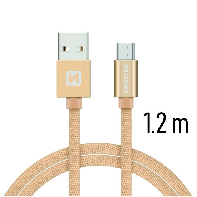 Dátový kábel Swissten textilný s Micro-USB konektorom a podporou rýchlonabíjania, Gold