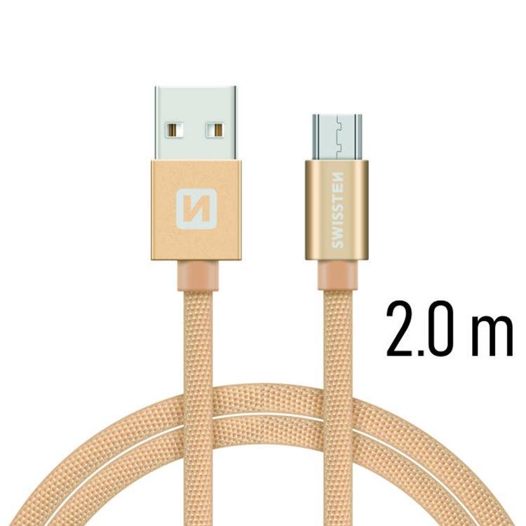 Dátový kábel Swissten textilný s Micro-USB konektorom a podporou rýchlonabíjania, Gold 71522304