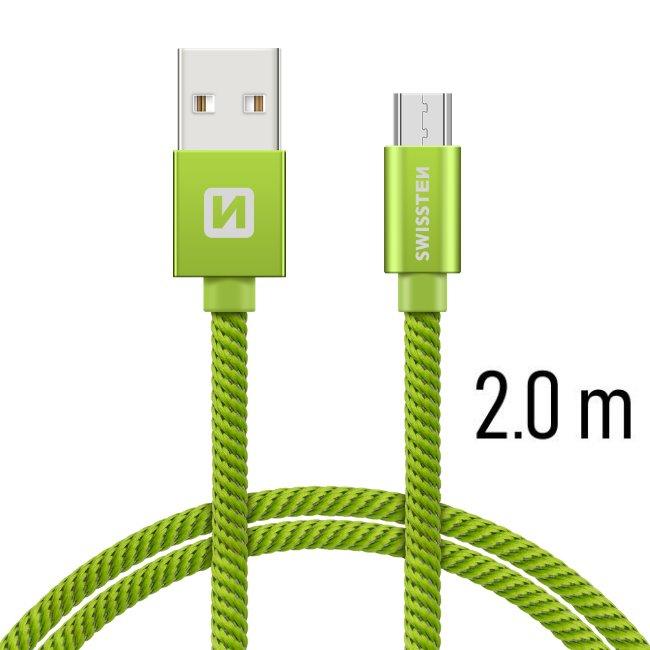 Dátový kábel Swissten textilný s Micro-USB konektorom a podporou rýchlonabíjania, Green 71522307