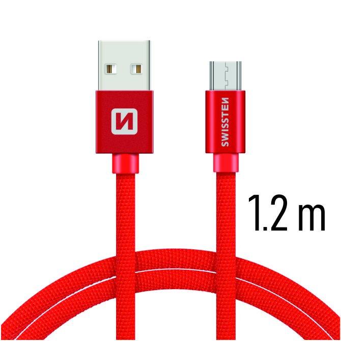 Dátový kábel Swissten textilný s Micro-USB konektorom a podporou rýchlonabíjania, Red