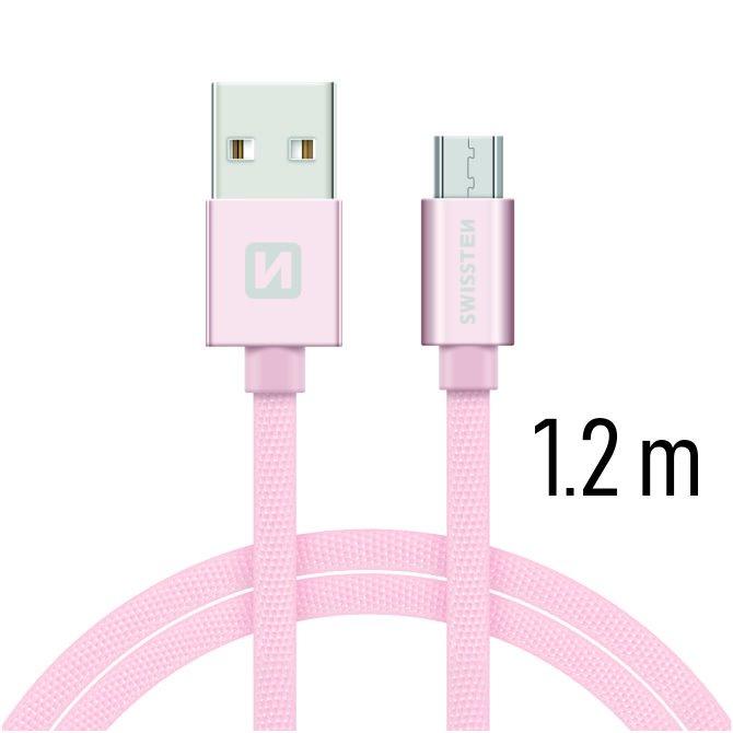 Dátový kábel Swissten textilný s Micro-USB konektorom a podporou rýchlonabíjania, Rose Gold