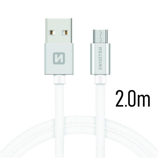 Dátový kábel Swissten textilný s Micro-USB konektorom a podporou rýchlonabíjania, Silver