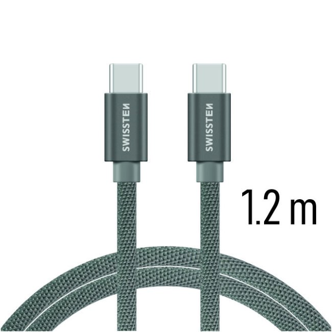 Dátový kábel Swissten textilný s USB-C konektormi a podporou rýchlonabíjania, Grey