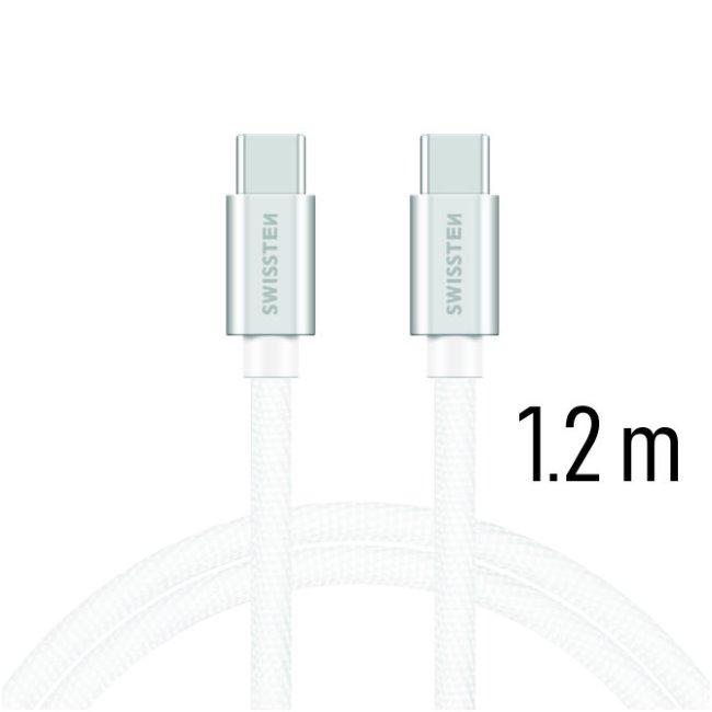 Dátový kábel Swissten textilný s USB-C konektormi a podporou rýchlonabíjania, Silver 71527203