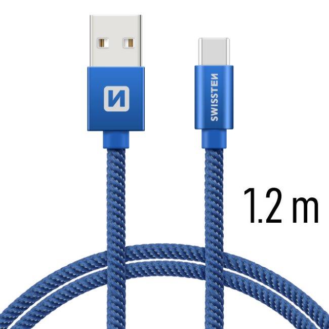 Dátový kábel Swissten textilný s USB-C konektorom a podporou rýchlonabíjania, Blue