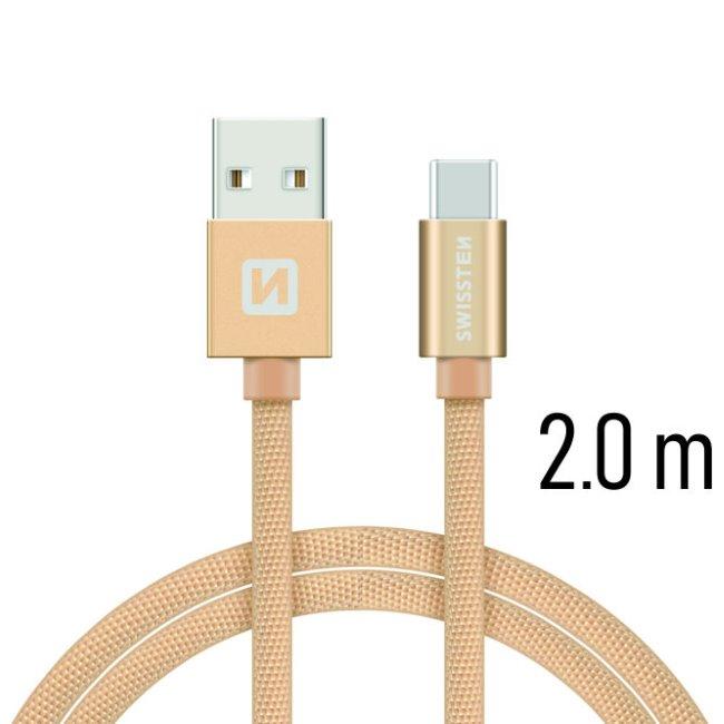 Dátový kábel Swissten textilný s USB-C konektorom a podporou rýchlonabíjania, Gold 71521304