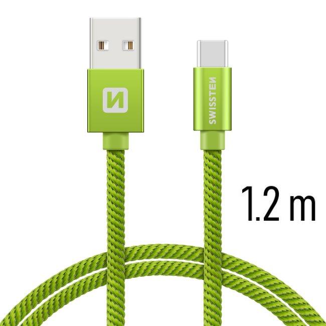 Dátový kábel Swissten textilný s USB-C konektorom a podporou rýchlonabíjania, Green