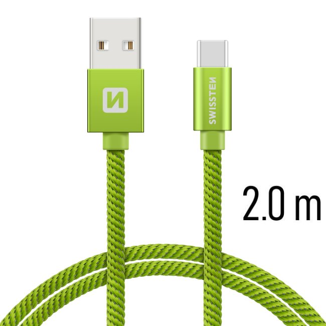 Dátový kábel Swissten textilný s USB-C konektorom a podporou rýchlonabíjania, Green 71521307