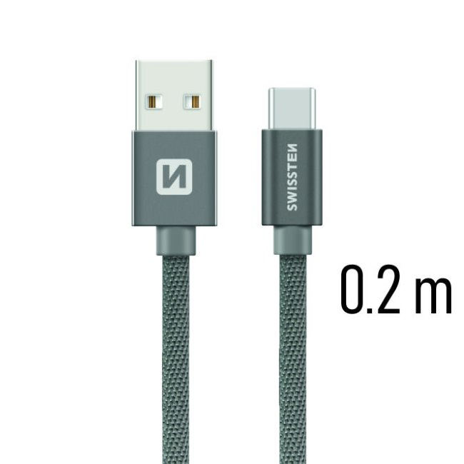 Dátový kábel Swissten textilný s USB-C konektorom a podporou rýchlonabíjania, Grey
