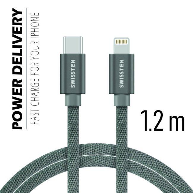 Dátový kábel Swissten textilný s USB-C + Lightning konektormi a podporou rýchlonabíjania, Grey