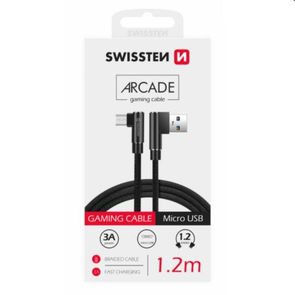 Dátový kábel Swissten USB/MICRO USB textilný s podporou rýchlonabíjania, čierny 71527500
