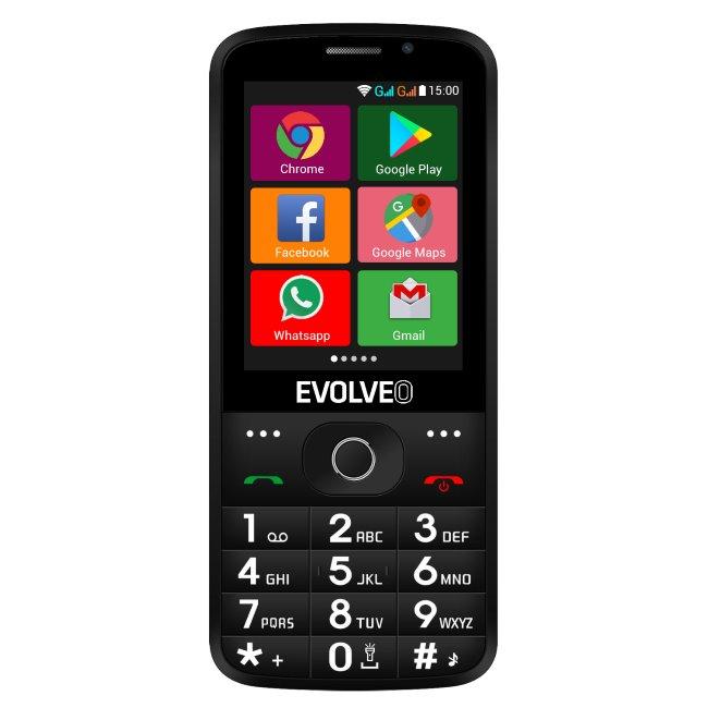 Evolveo EasyPhone AD, black + nabíjací stojan - SK distribúcia