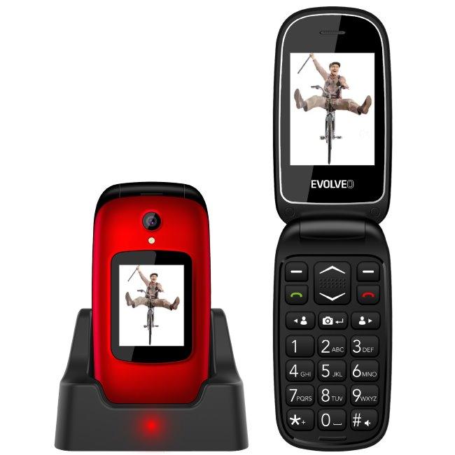 Evolveo EasyPhone FD, red + nabíjací stojan - SK distribúcia