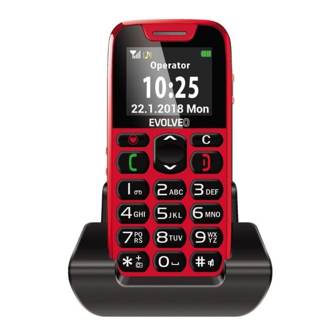 Evolveo EasyPhone, red + nabíjací stojan - SK distribúcia