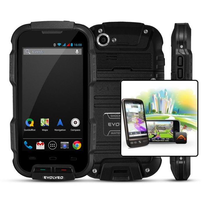 EVOLVEO StrongPhone Q4, Dual SIM, Black + Sygic GPS navig�cia na do�ivotie