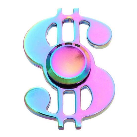 Fidget Spinner, Dollar - 4 minútový, kovový, dúha