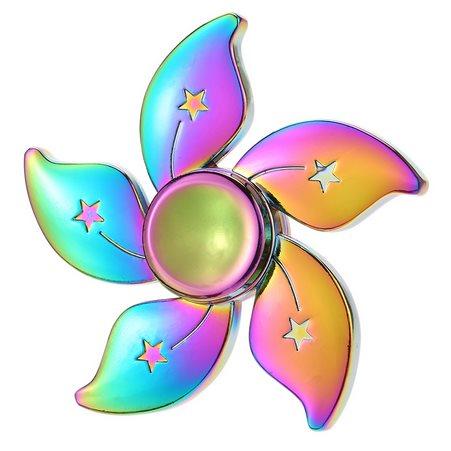 Fidget Spinner, Flower - kovový, dúha