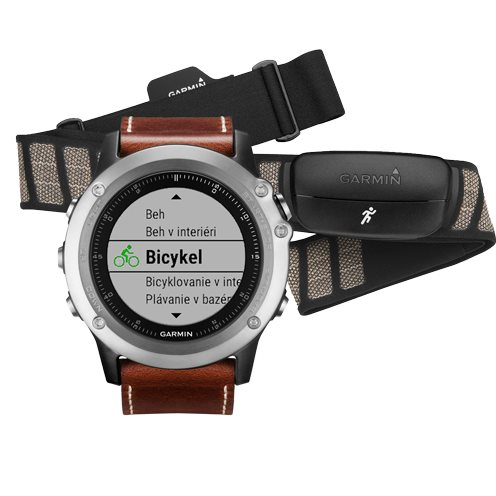 Garmin FENIX 3, Sapphire, Silver Leather - Performer Bundle | Odolné inteligentné hodinky