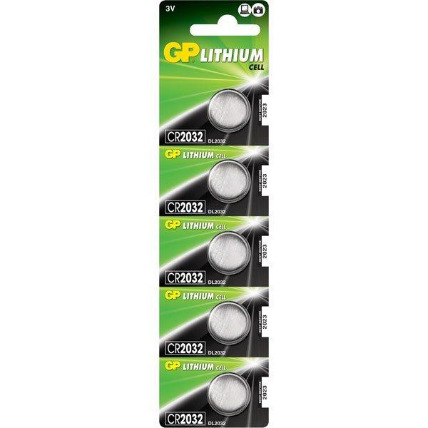 Gombíková batéria GP Líthiová, typ CR2032, 5 kusov