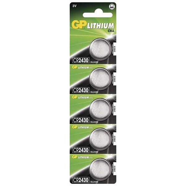 Gombíková batéria GP Lithium, typ CR2430, 5 kusov
