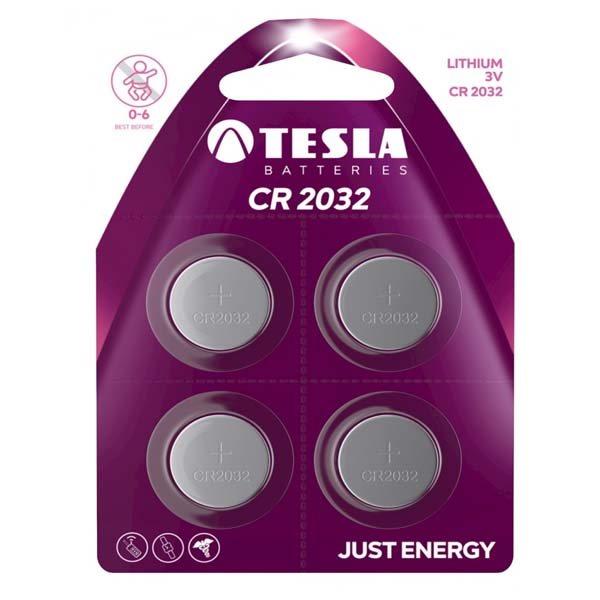 Gombíková batéria TESLA, typ CR2032, 4 kusy