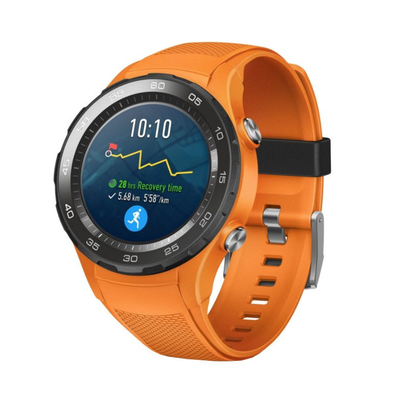 Huawei Watch W2 Sport, 4G LTE, 45mm, Stainless Steel, Dynamic Orange