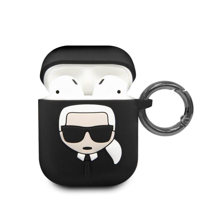 Karl Lagerfeld silikónový obal pre Apple AirPods (KLACCSILKHBK), Black
