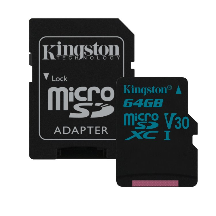 Kingston Canvas Go Micro SDXC 64GB + SD adaptér, UHS-I U3, Class 10 - rýchlosť 90/45 MB/s (SDCG2/64GB)