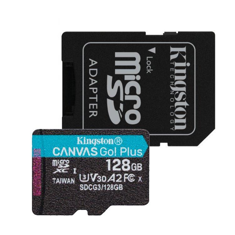Kingston Canvas Go Plus Micro SDXC 128GB + SD adaptér, UHS-I U3 A2, Class 10 - rýchlosť 170/90 MB/s