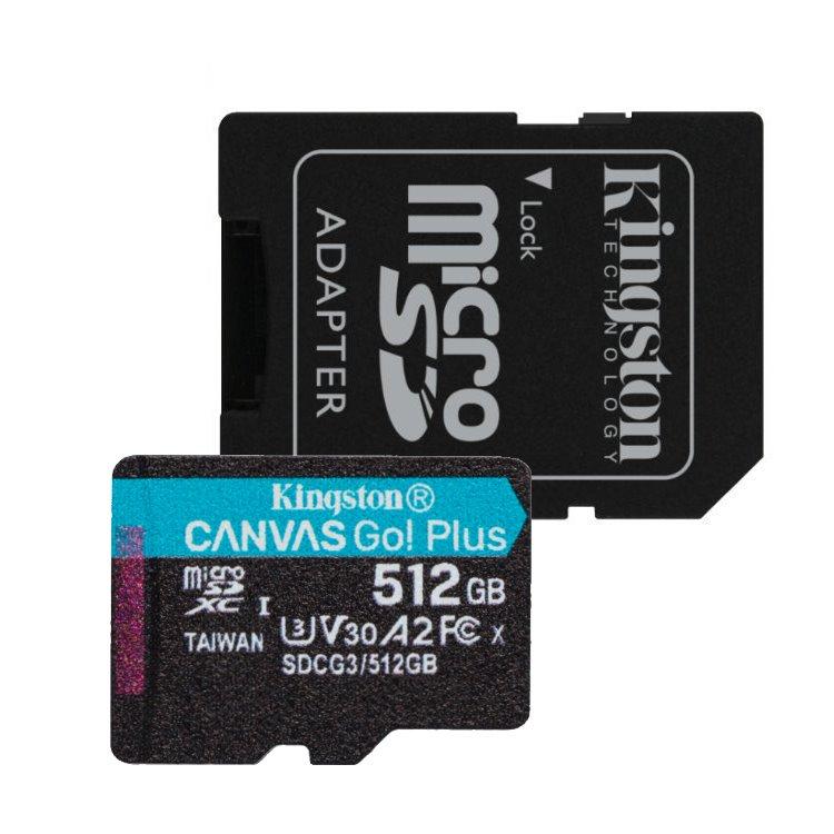 Kingston Canvas Go Plus Micro SDXC 512GB + SD adaptér, UHS-I U3 A2, Class 10 - rýchlosť 170/90 MB/s