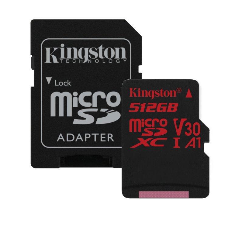 Kingston Canvas React Micro SDXC 512GB + SD adaptér, UHS-I U3 A1, Class 10 - rýchlosť 100/80 MB/s (SDCR/512GB)